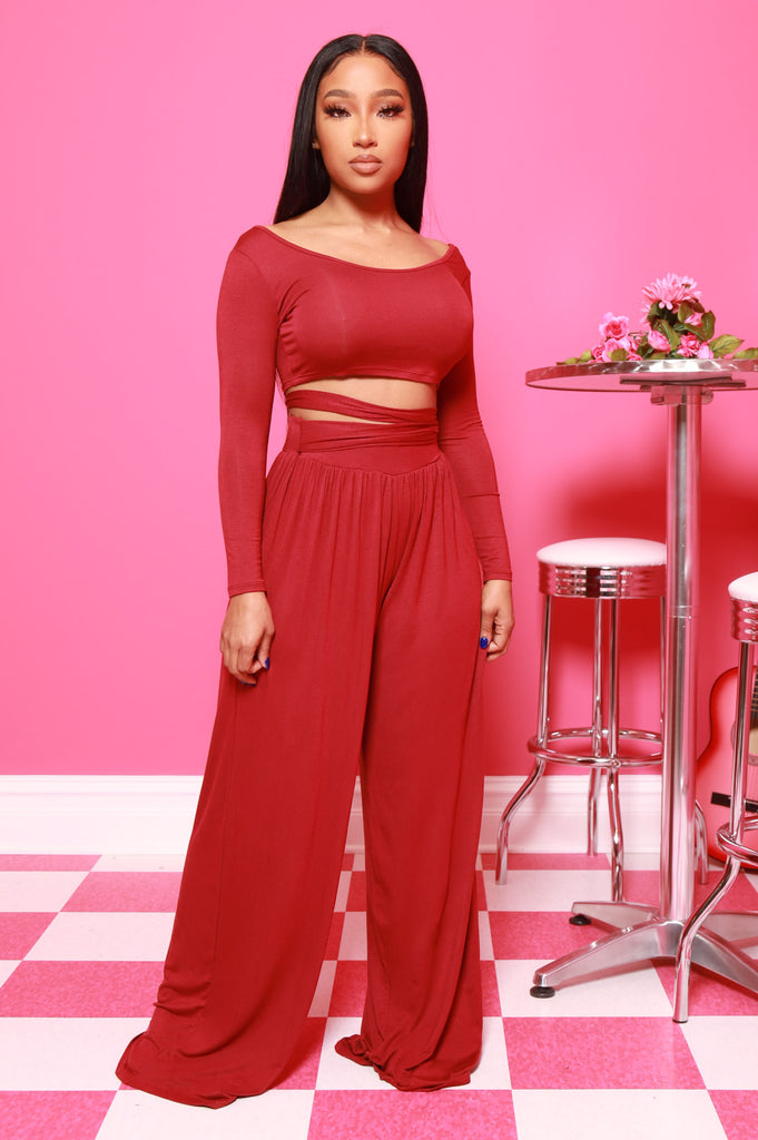 Soft Serve Wide Legged Pants Set - Burgundy - Swank A Posh