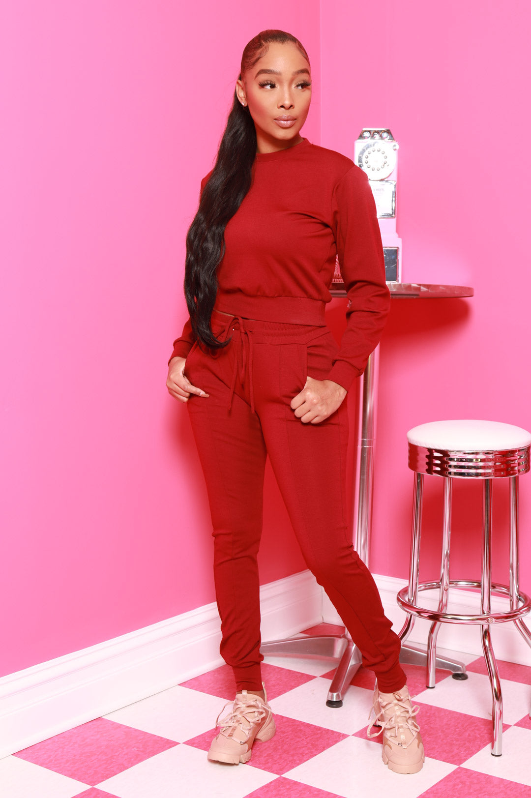 In Your Court Jogger Set - Burgundy - Swank A Posh