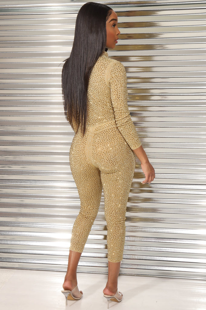 Ice Breaker Rhinestone Embellished Jumpsuit - Gold - Swank A Posh