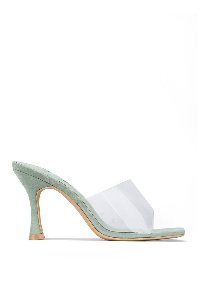 Lucid Perspex Heeled Sandal - Green - Swank A Posh