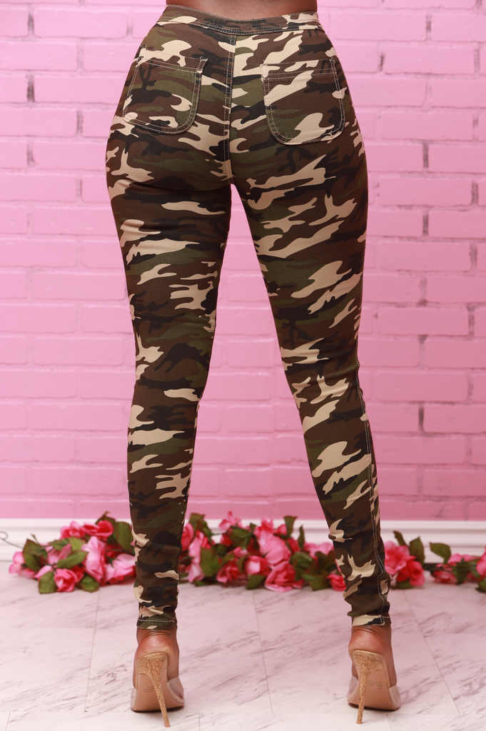 SuperGa High Waist Stretchy Jeans - Dark Camo - Swank A Posh