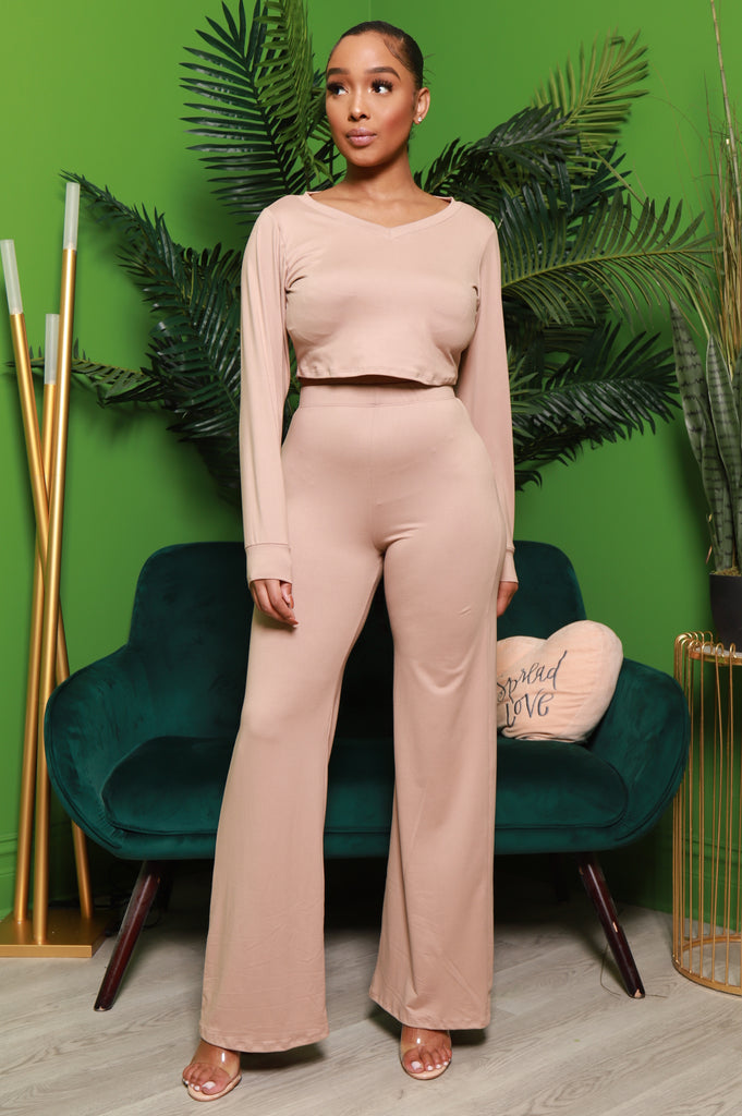 First Step Wide Leg Pants Set - Mocha - Swank A Posh