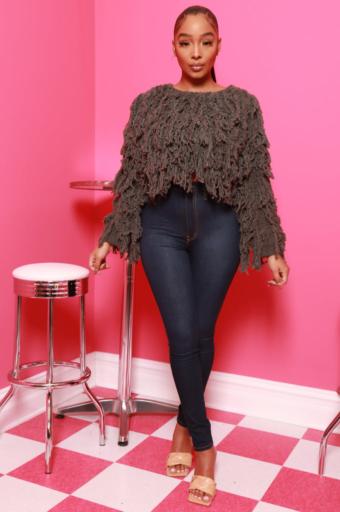 Your Love Shaggy Fringe Sweater- Olive - Swank A Posh