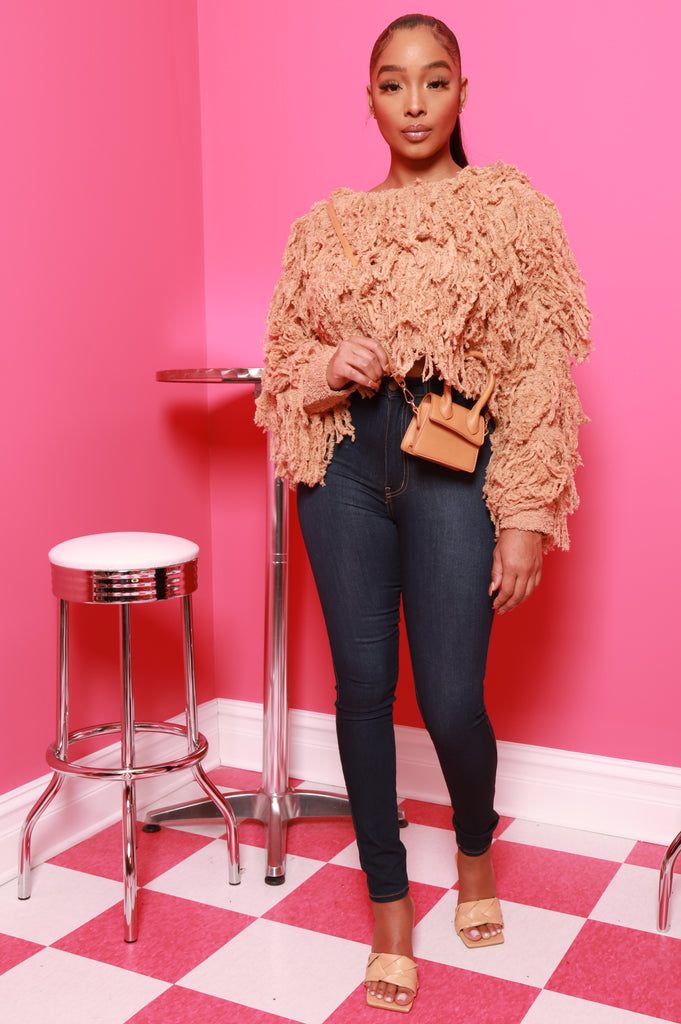 Your Love Shaggy Fringe Sweater- Camel - Swank A Posh