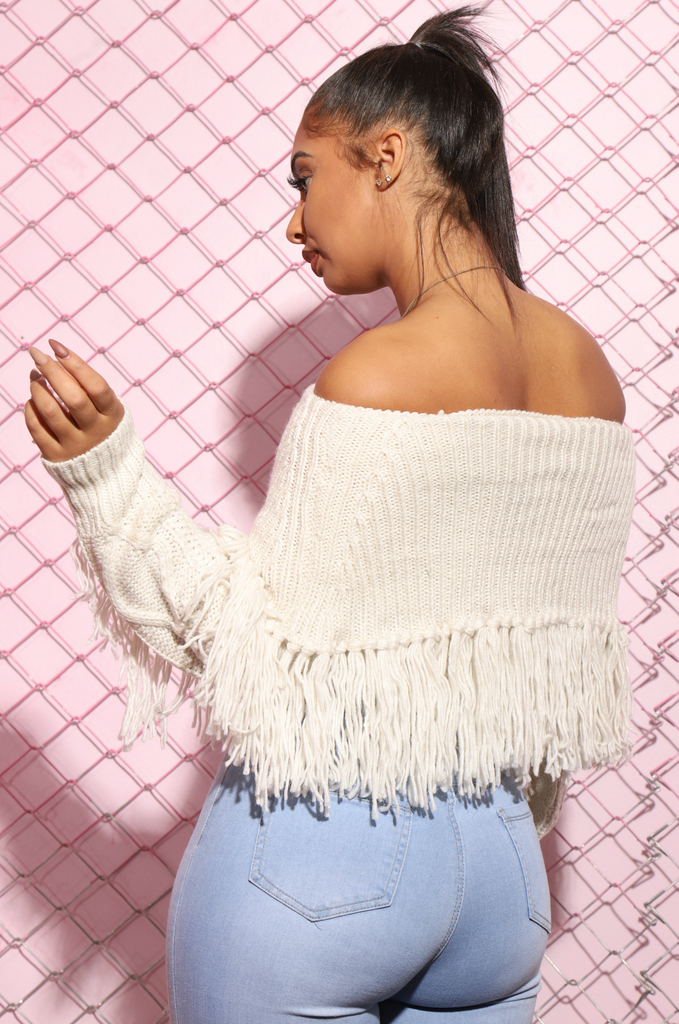 Brave Off The Shoulder Fringe Sweater - Ivory - Swank A Posh
