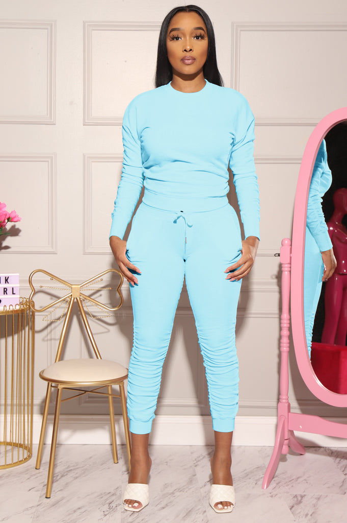Task Force Ruched Jogger Set - Baby Blue - Swank A Posh