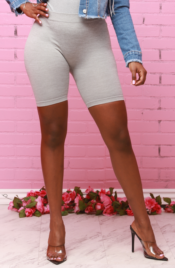 Beth Ribbed Biker Shorts - Heather Grey - Swank A Posh