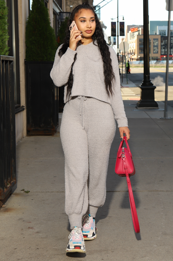Teddy Knit Jogger Set - Grey - Swank A Posh