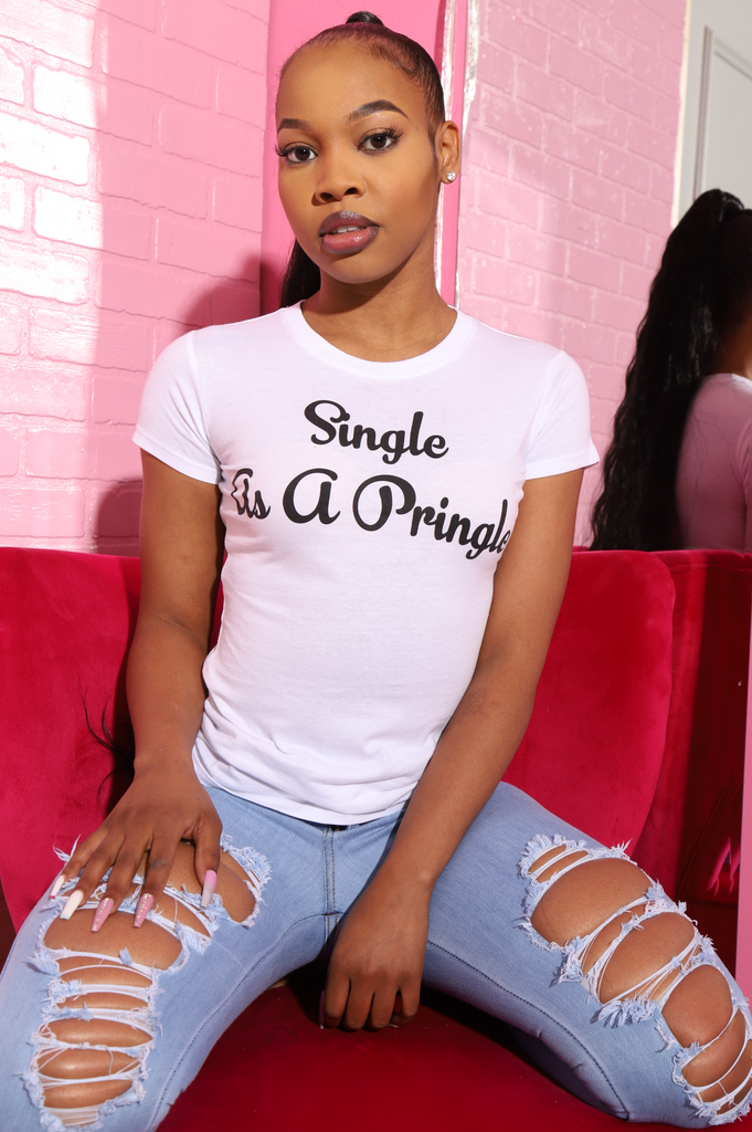 Single As A Pringle Printed T-Shirt - White - Swank A Posh