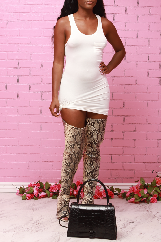 Mercy Tank Top Mini Dress - White - Swank A Posh