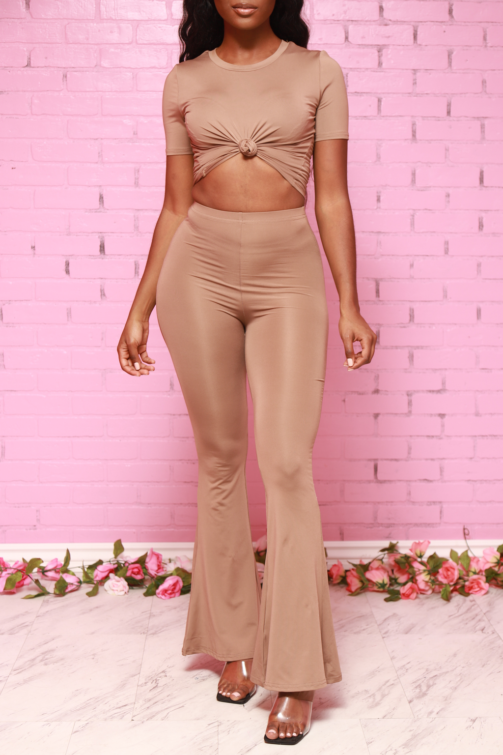 Let It Flow Flare Pants Set - Taupe - Swank A Posh