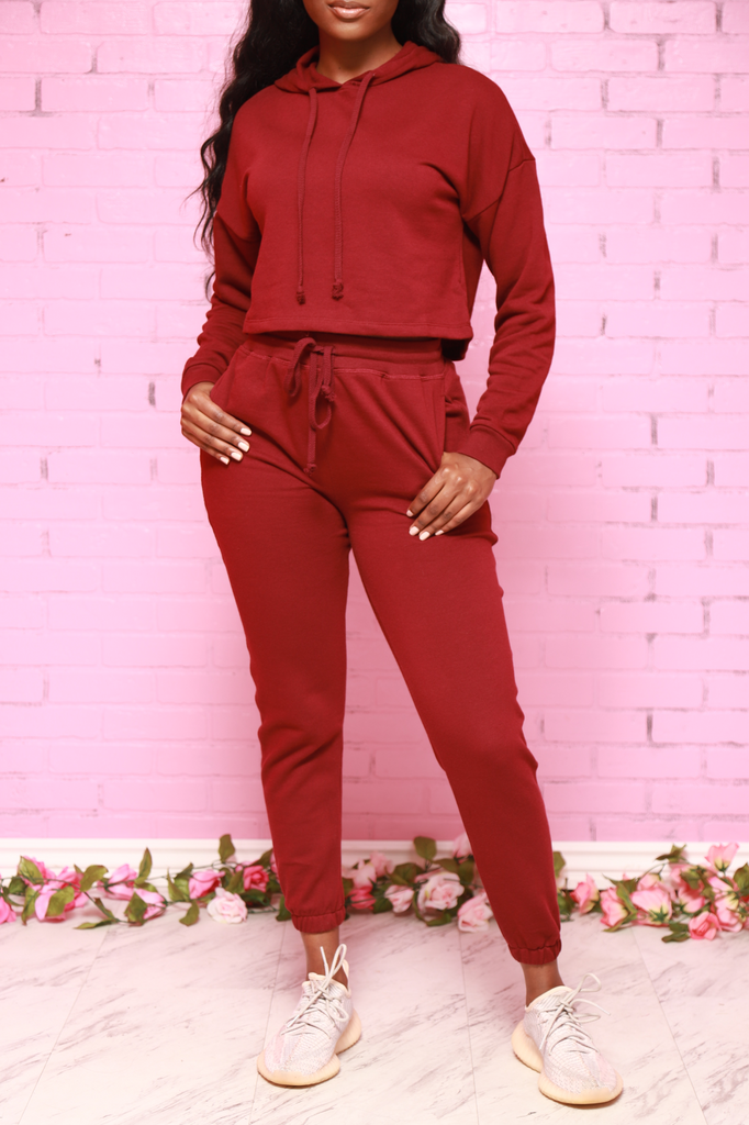 Just In Time Jogger Set - Burgundy - Swank A Posh