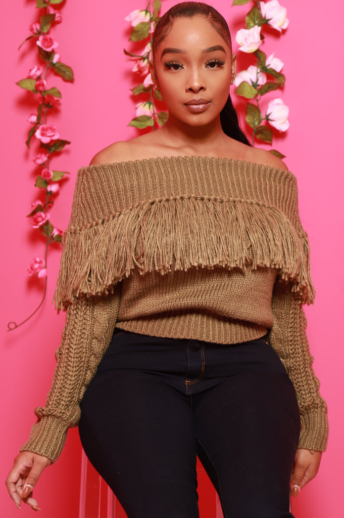 Ginger Off The Shoulder Fringe Sweater - Olive - Swank A Posh