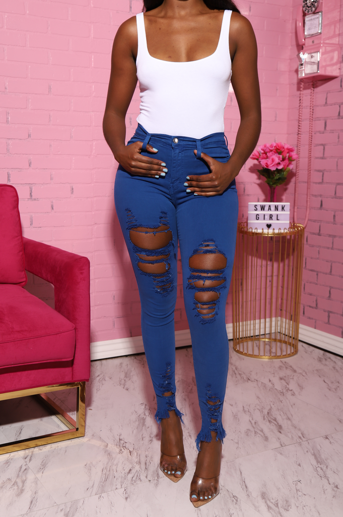 Witness Distressed High Rise Jeans - Royal Blue - Swank A Posh