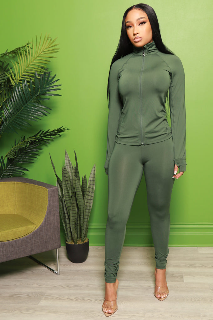 Easy Fit Athletic Set - Olive - Swank A Posh