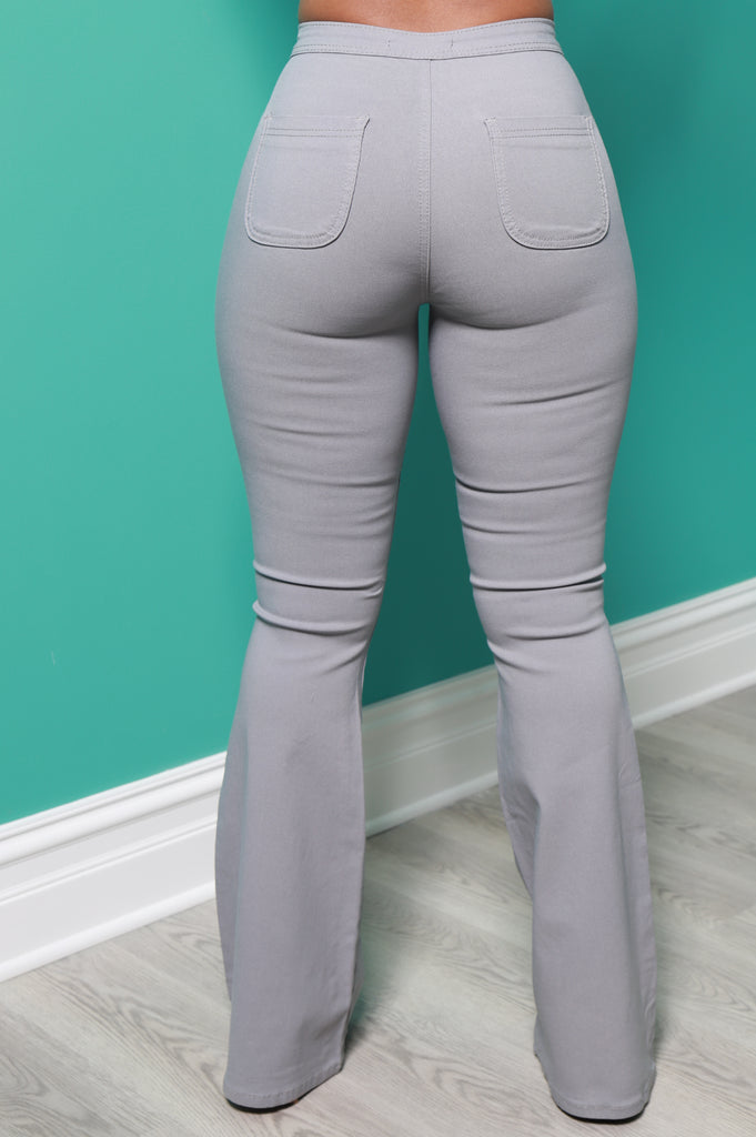 Major High Rise Flare Stretchy Jeans - Grey - Swank A Posh