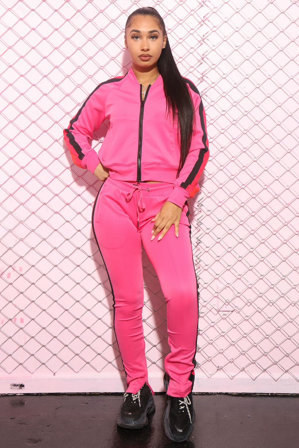 Taste Multi Colored Stripe Tracksuit - Pink - Swank A Posh