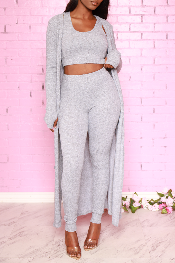 Sam Knit 3 Piece Pants Set - Heather Grey - Swank A Posh