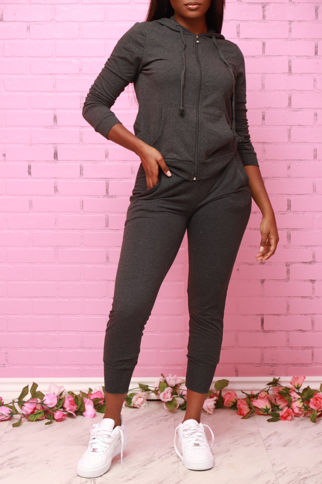 Chill Out Hoodie Jogger Set - Charcoal - Swank A Posh