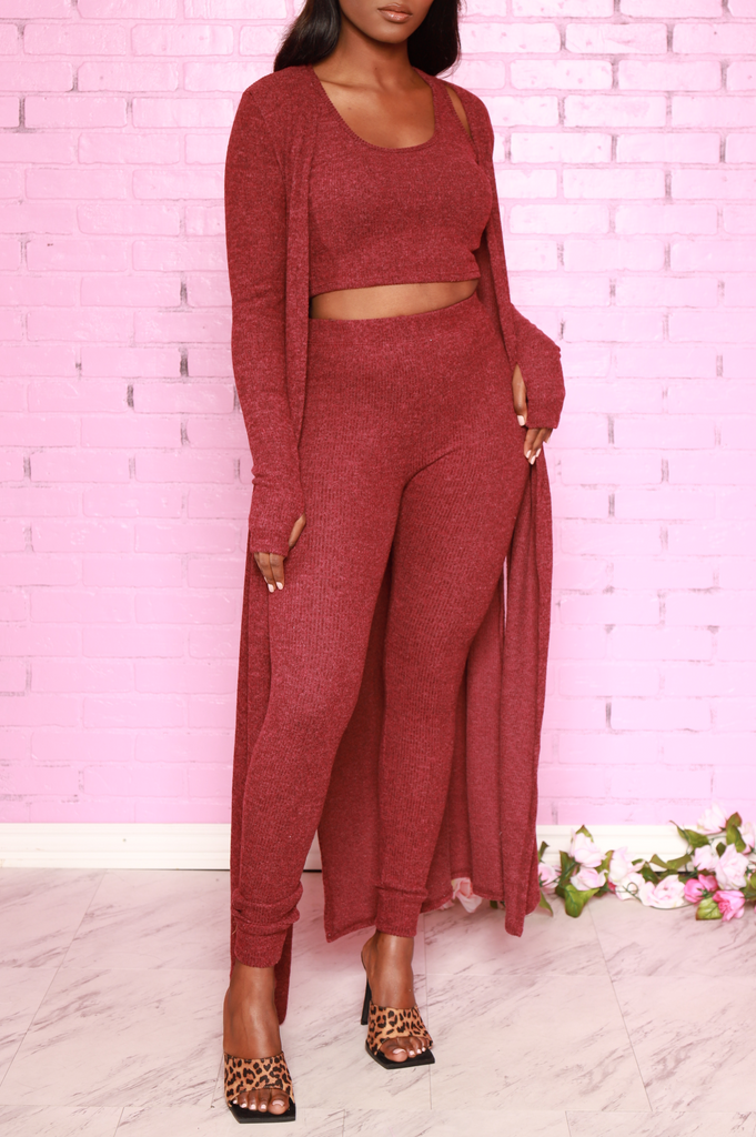 Sam Knit 3 Piece Pants Set - Burgundy - Swank A Posh