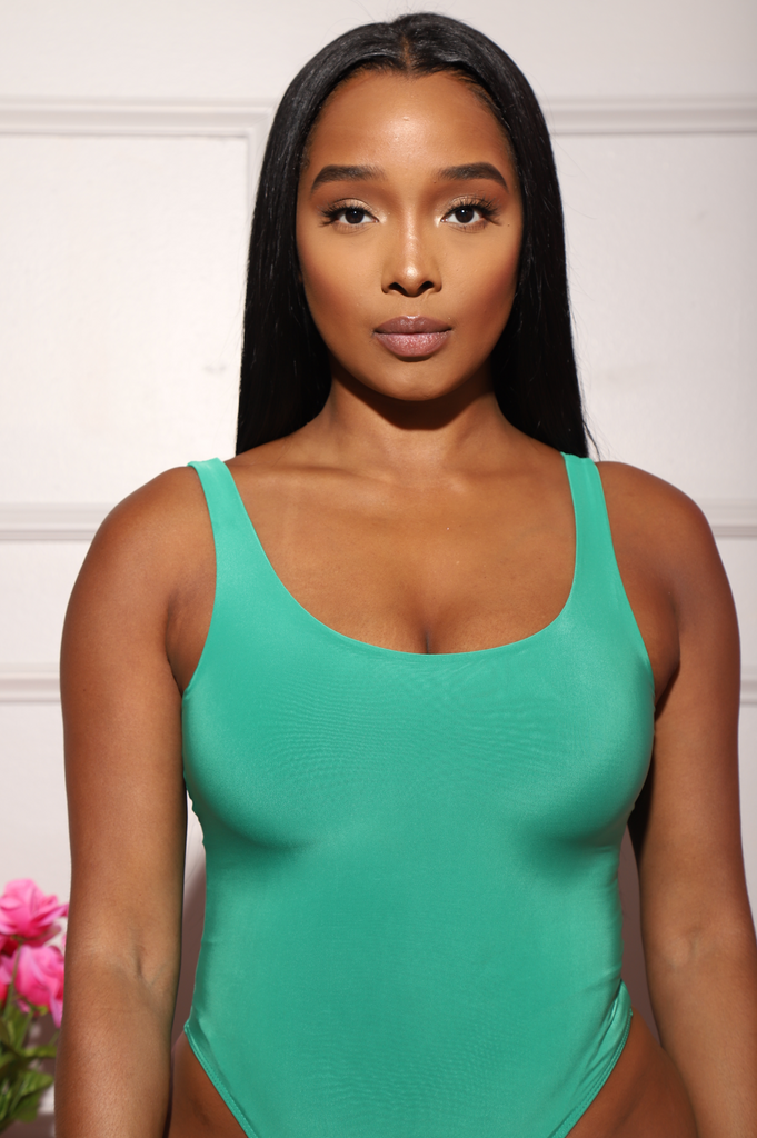 Invest Simple Shaping Tank Bodysuit - Slime Green - Swank A Posh