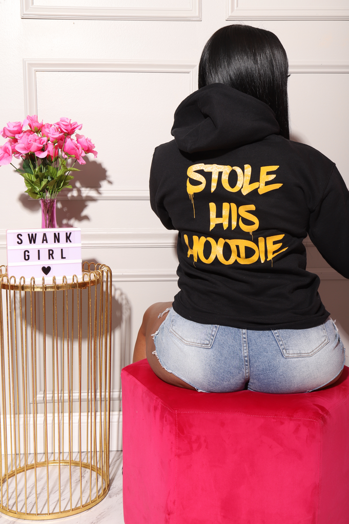 Stole His Hoodie Graphic Sweatshirt - Black/Orange - Swank A Posh