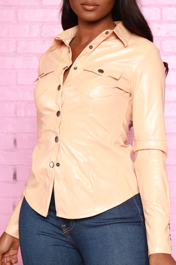 Melt Away Faux Leather Shirt - Tan - Swank A Posh