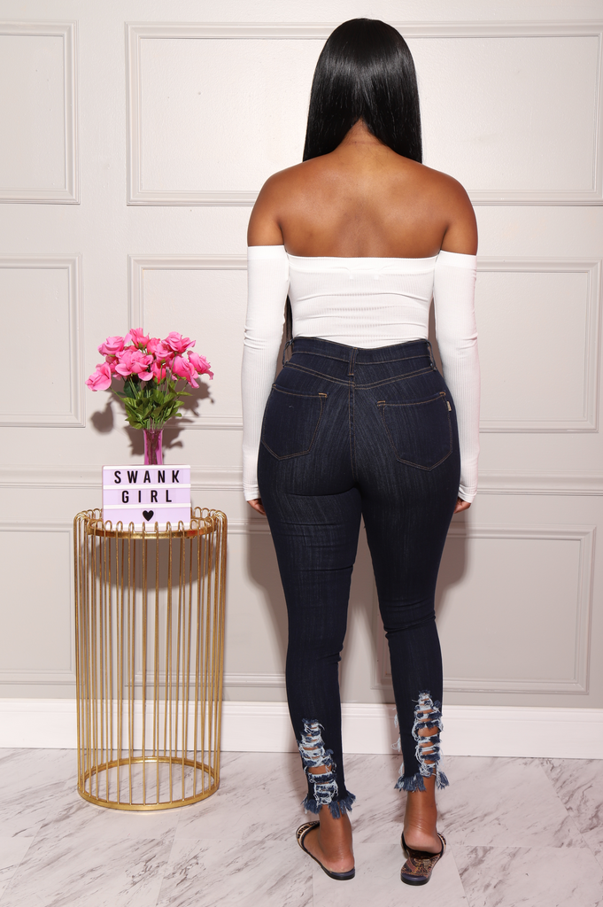 Witness Distressed High Rise Jeans - Dark Wash - Swank A Posh
