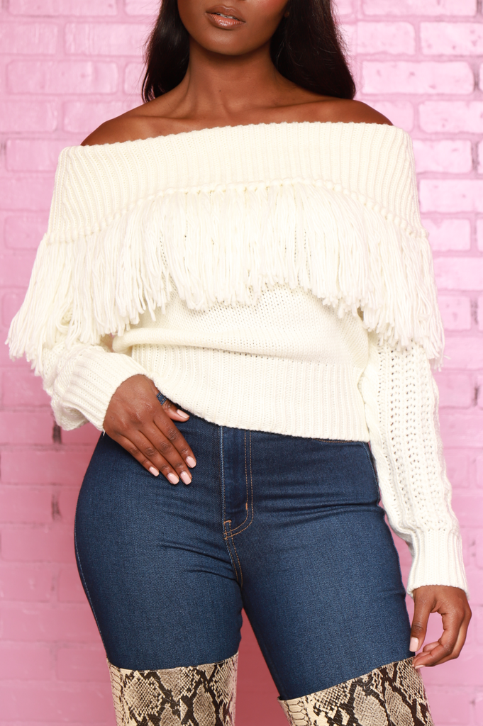 Ginger Off The Shoulder Fringe Sweater - White - Swank A Posh