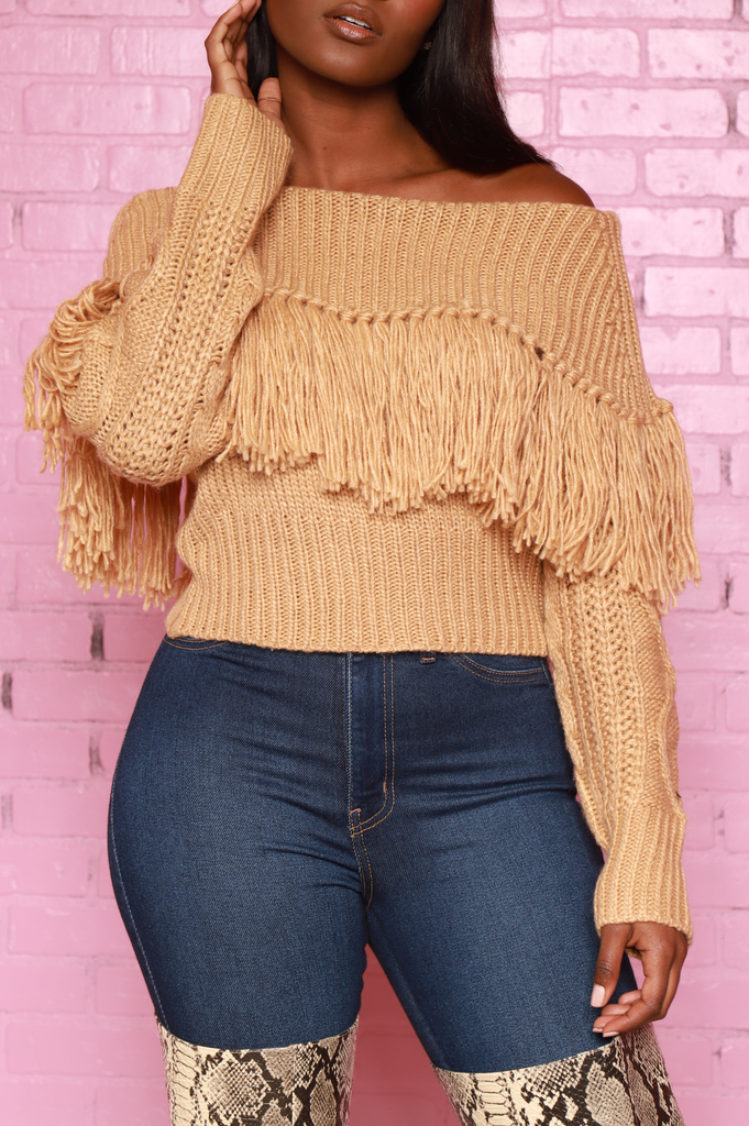 Ginger Off The Shoulder Fringe Sweater - Taupe - Swank A Posh