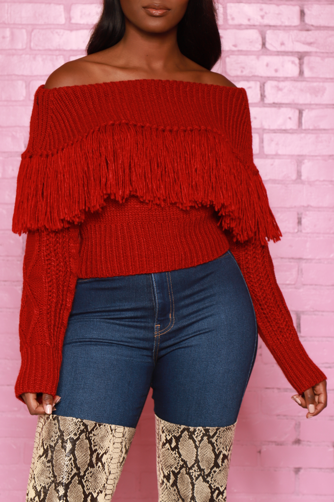 Ginger Off The Shoulder Fringe Sweater - Burgundy - Swank A Posh