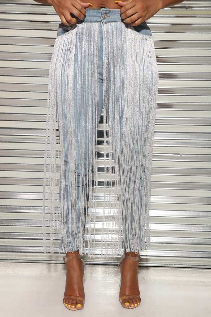 Life Of The Party Fringe Jeans - Swank A Posh