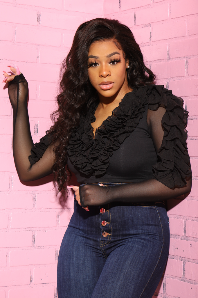 Missing Out Sheer Ruffle Crop Blouse - Black - Swank A Posh