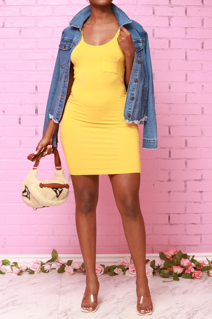 Mercy Tank Top Mini Dress - Mustard - Swank A Posh