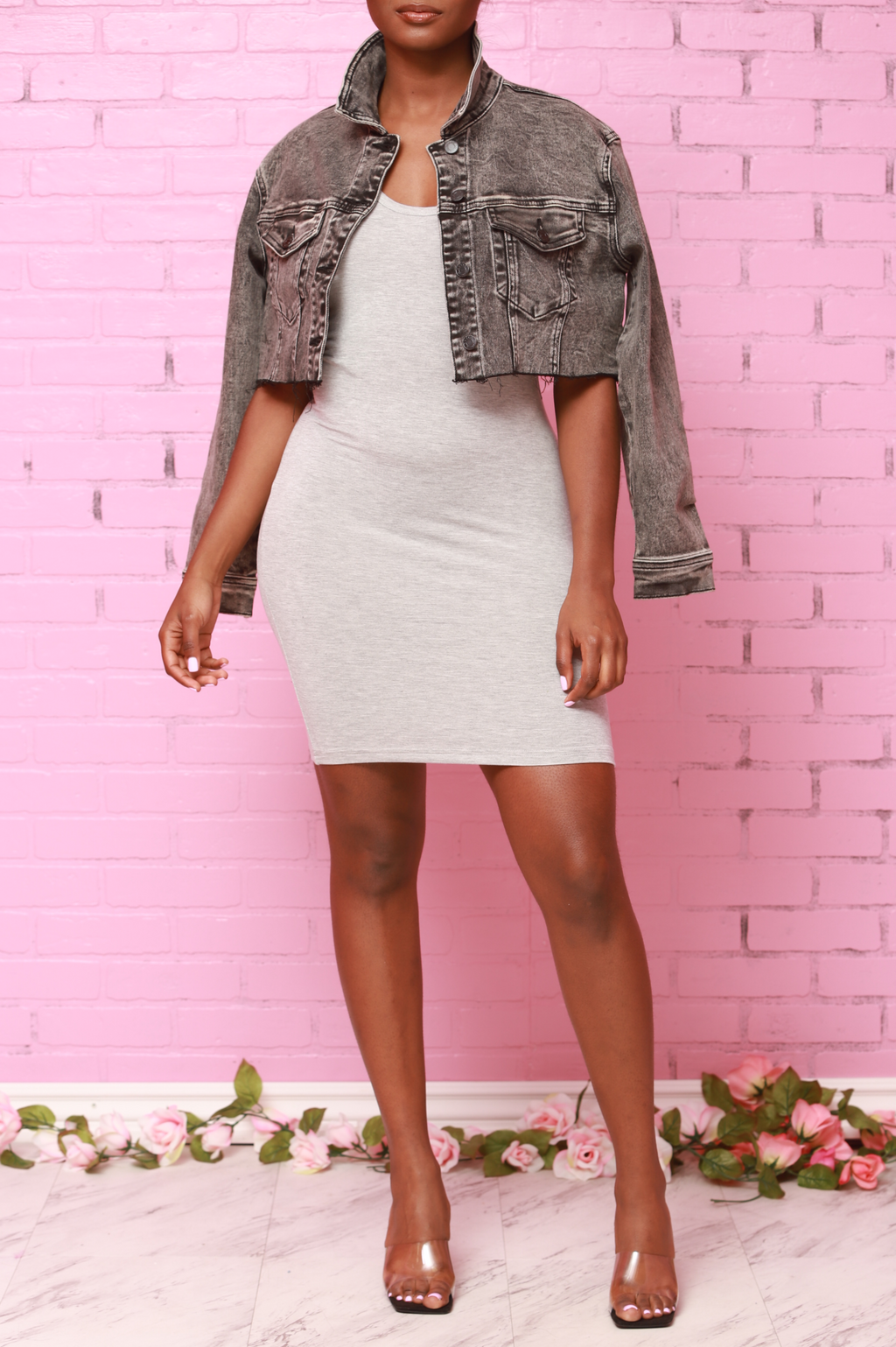 Mercy Tank Top Mini Dress - Heather Grey - Swank A Posh
