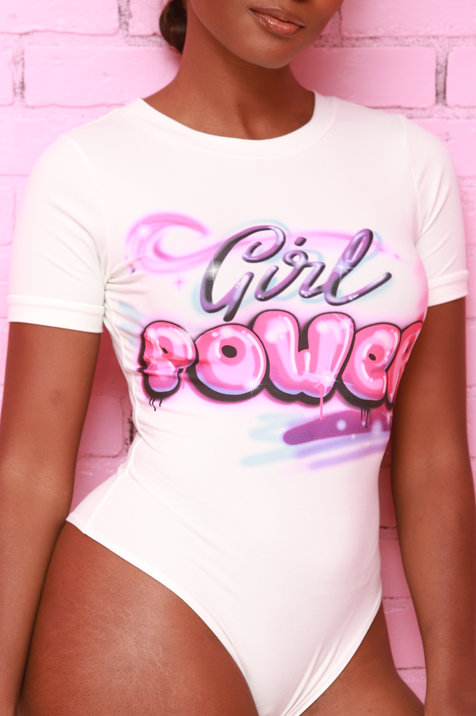 Girl Power Graphic Bodysuit - White - Swank A Posh