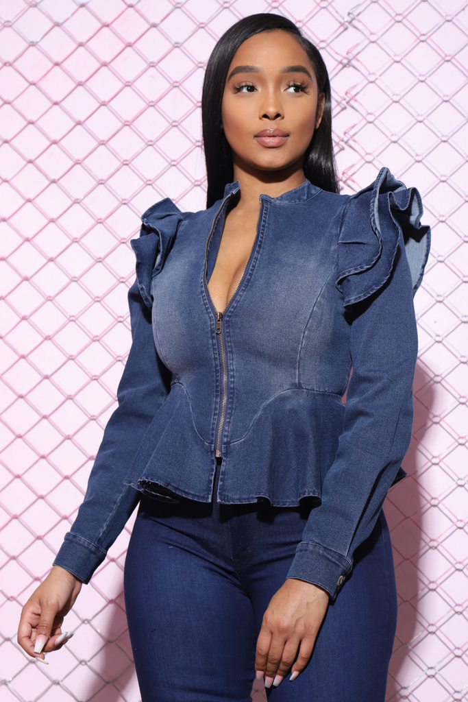 The Dream Denim Ruffle Jacket - Mid Wash - Swank A Posh