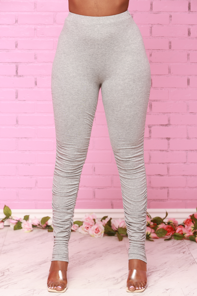 So Far So Good Ruche Leggings - Grey - Swank A Posh