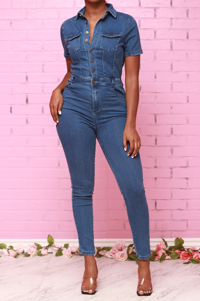 Lure Stretchy Denim Jumpsuit - Dark Wash - Swank A Posh