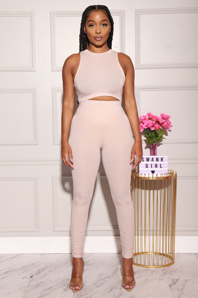 Zoom Ribbed Pants Set - Taupe - Swank A Posh