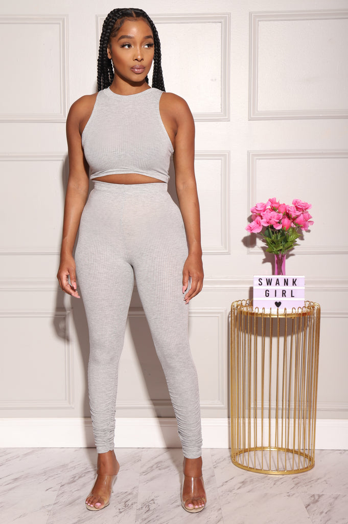 Zoom Ribbed Pants Set - Heather Grey - Swank A Posh