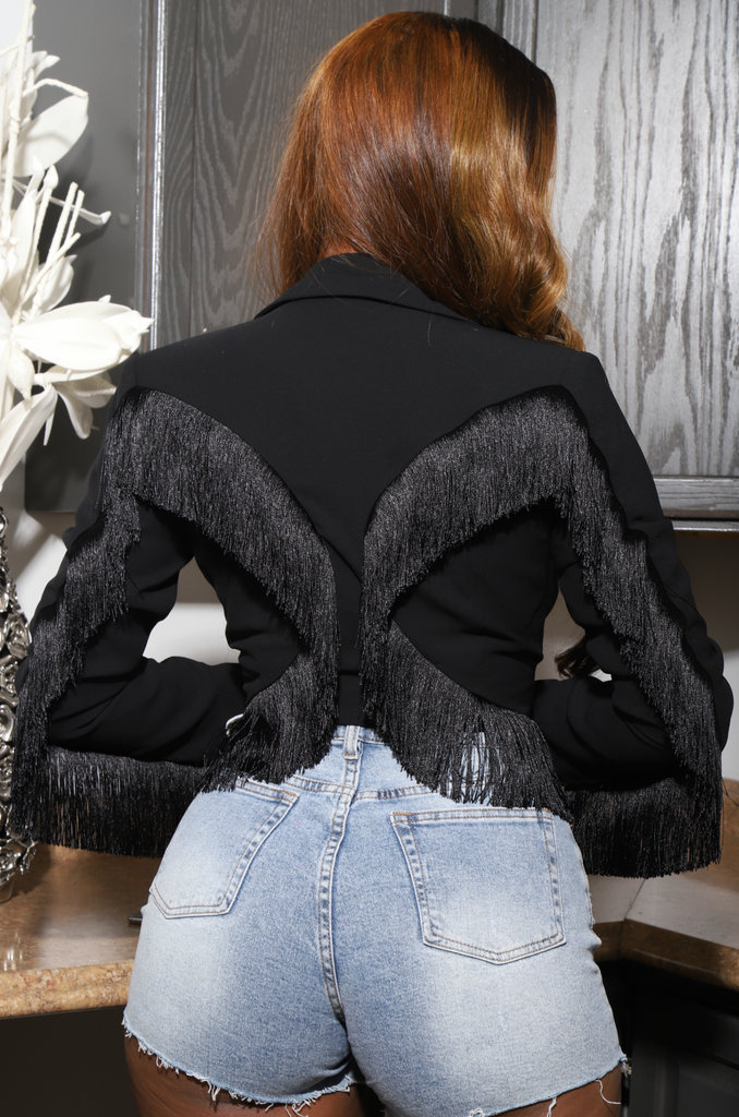 That's Deep Fringe Blazer - Black - Swank A Posh