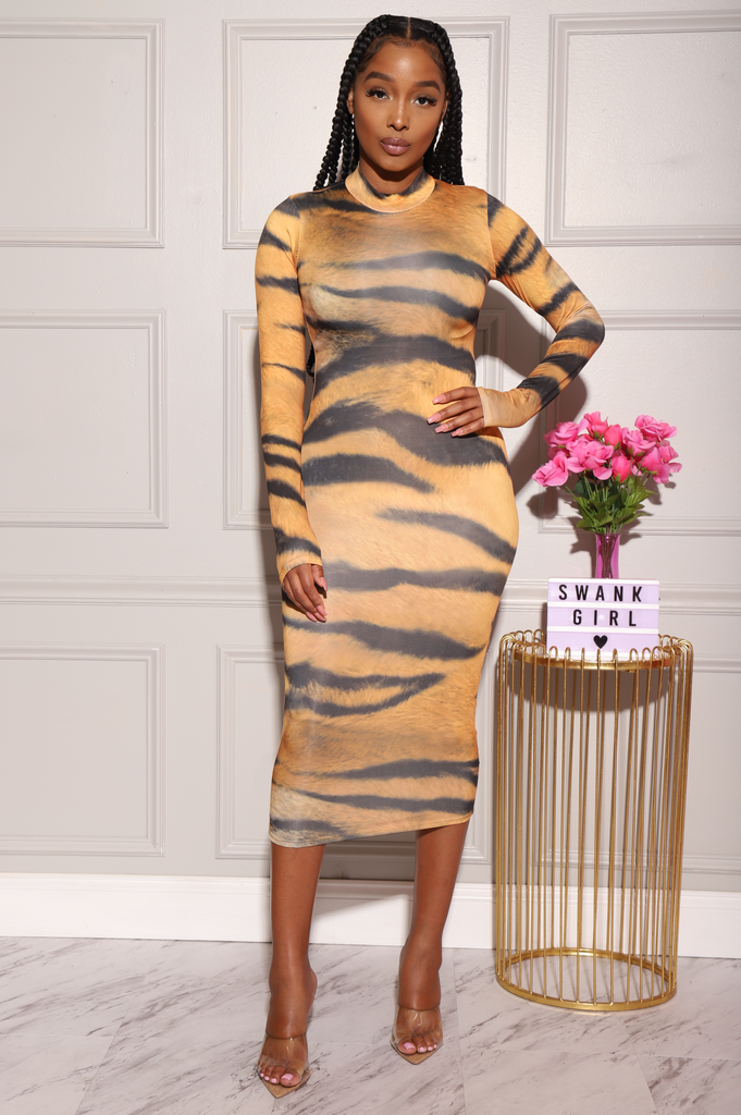 Tame Tiger Print Midi Dress - Swank A Posh