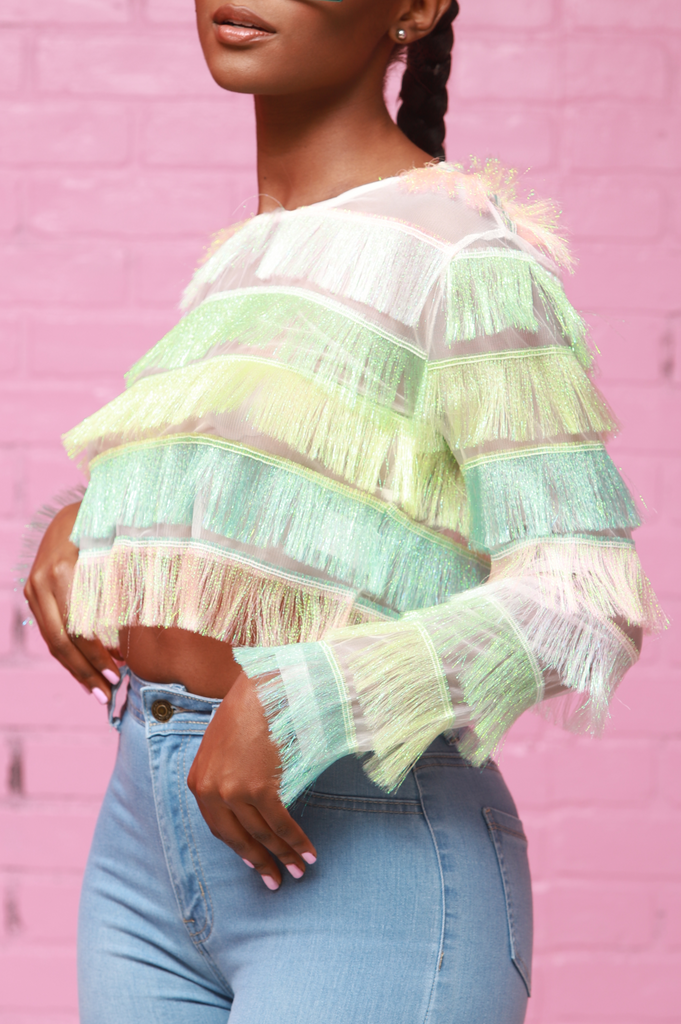 Grim Multicolored Fringe Top - Light Rainbow - Swank A Posh