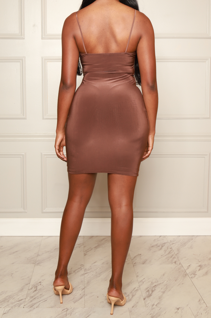 Molly Strappy Mini Dress - Mocha - Swank A Posh