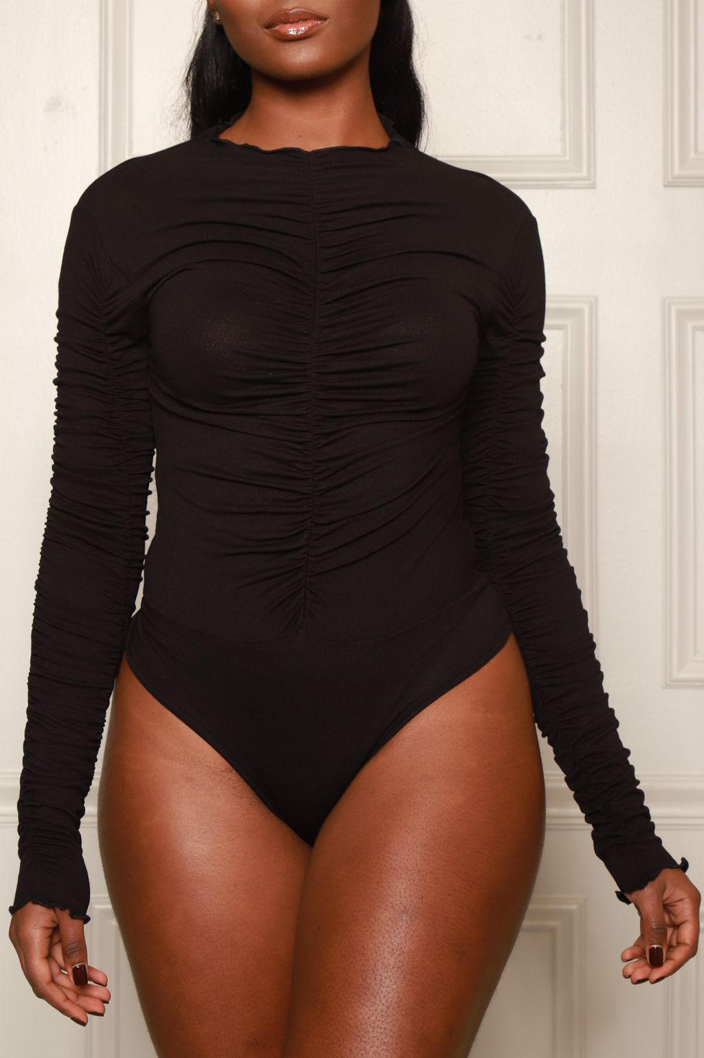 Conceal Ruche Long Sleeve Bodysuit - Black - Swank A Posh