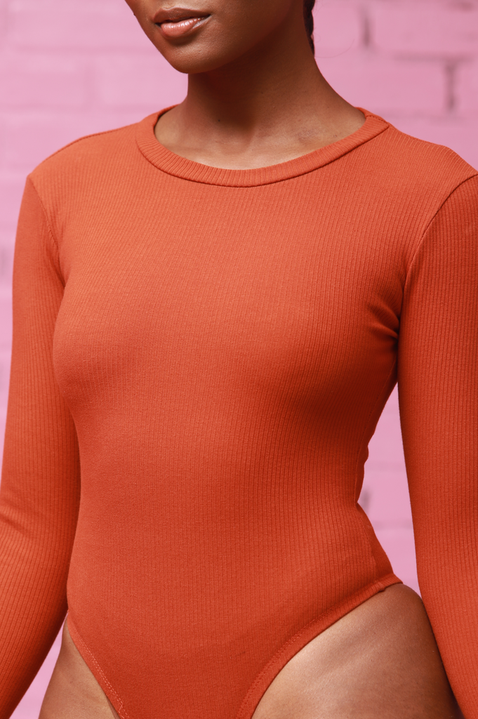 Mute Long Sleeve Bodysuit - Rust - Swank A Posh