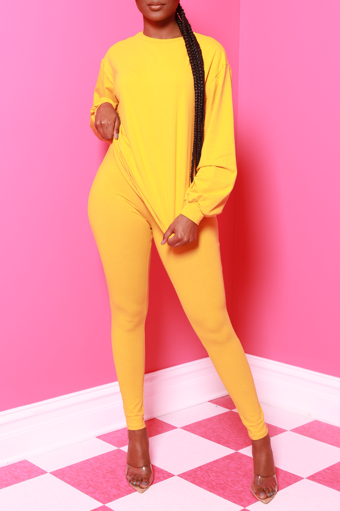 No Reason Legging Set - Mustard - Swank A Posh