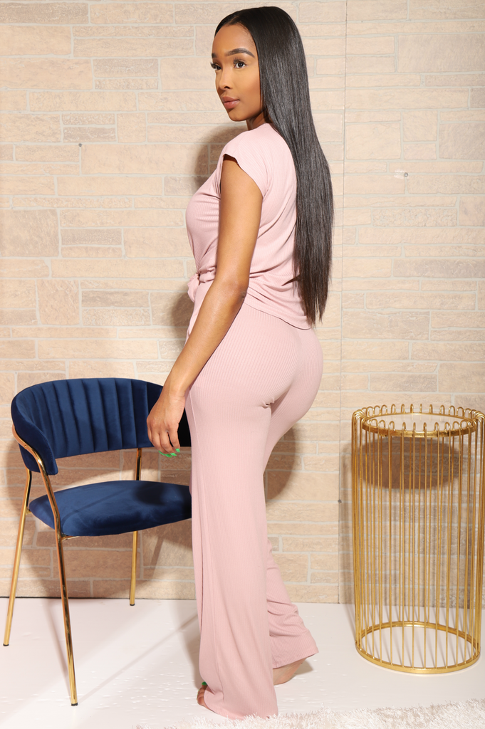 Missy Ribbed Pants Set - Nude - Swank A Posh