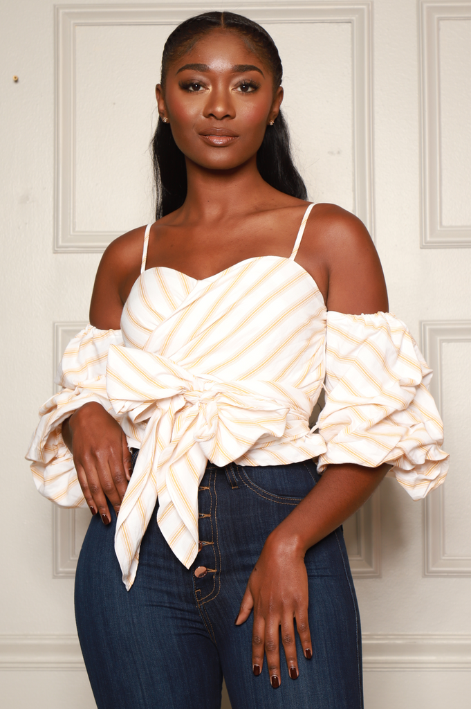 Eye To Eye Striped Blouse - White/Beige - Swank A Posh
